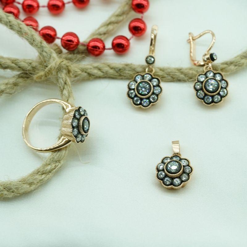 Tasarım Elmas Montürlü Gümüş Set